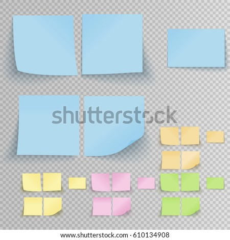 Set of office sticky stickers with shadow isolated on a transparent background. Vector multicolor post notes template.
