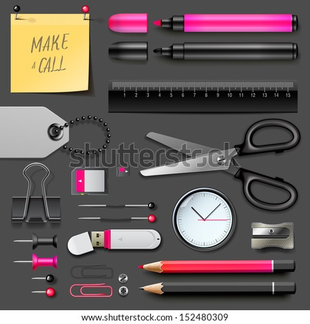 Set of office supplies, vector illustration.