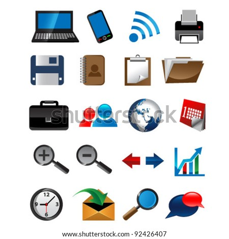 set of office vector icons - stock vector