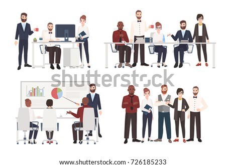 Set of office workers dressed in business clothing in different situations - working at computer, conducting negotiation, making presentation. Flat colored cartoon characters. Vector illustration.