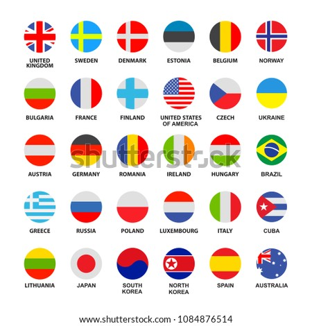 Set of official world flags isolated on white background. Flat vector collection. #1084876514