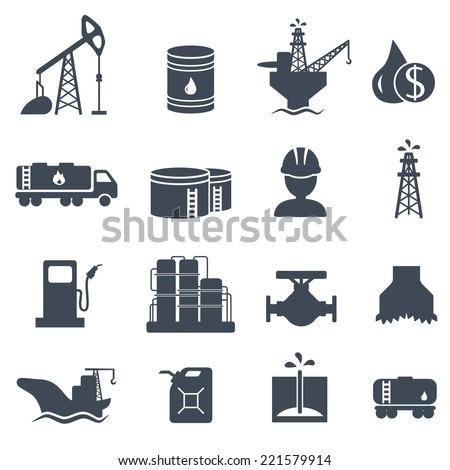 Set of oil and gas grey icons on white background. Petroleum industry vector illustration