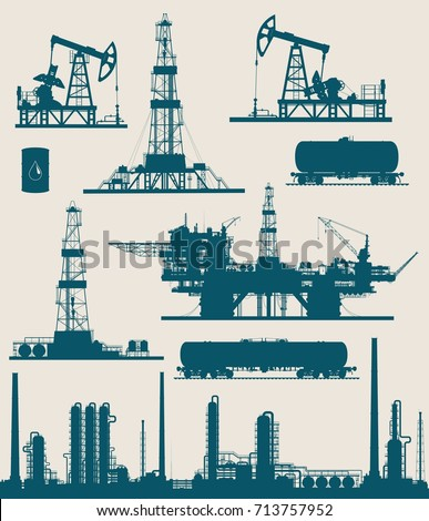Set of oil and gas industry elements silhouettes. Oil refinery, offshore sea and land oil drilling rigs, pumpjack and railroad tanks. Vector illustration.
