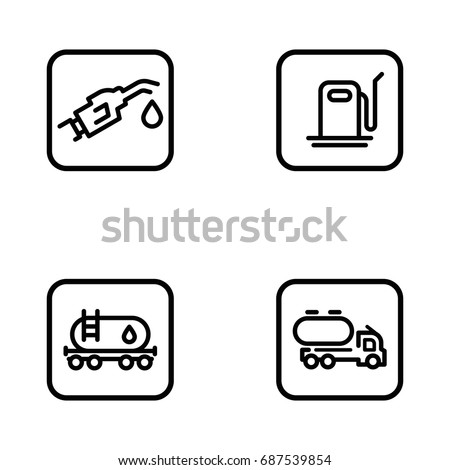 Set of oil and gas vector thin line icons.