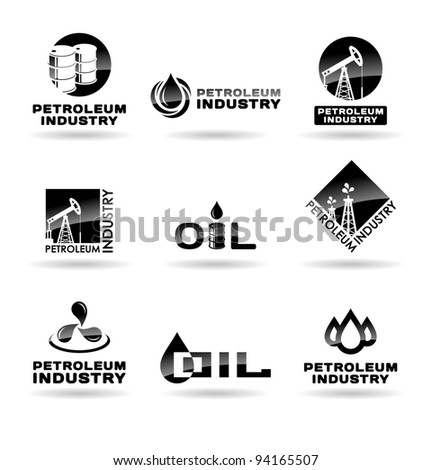 Set of oil  icons. Petroleum industry.