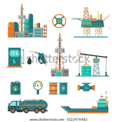 Set of oil industry extraction production and transportation oil and petrol, rig and barrels on flat cartoon icons. Isolated vector illustration.