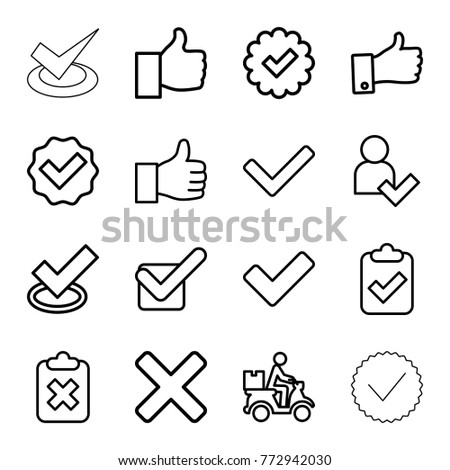 Set of 16 ok outline icons such as tick, clipboard with tick, clipboard with cross, courier on motorcycle, thumb up, add user, thumbs up