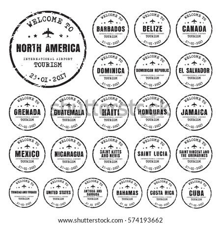 Travel stamp download free vector art stock graphics images set of old black worn stamps passport with the name of the countries of north america maxwellsz
