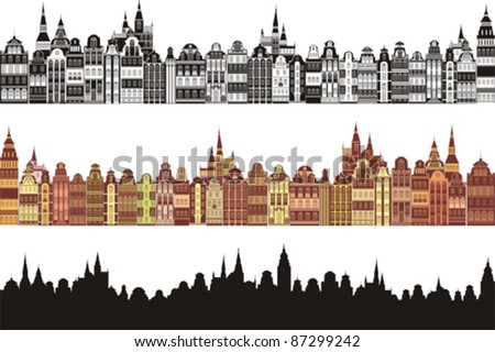 Set of old cities silhouette isolated on White background. Vector illustration