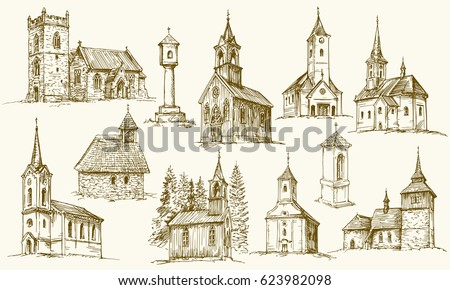 Set of old country churches. Hand drawn vector illustration.