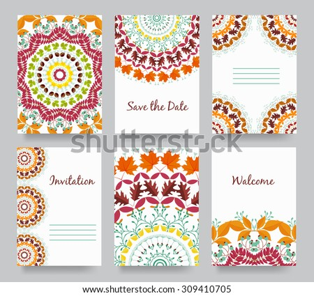 Set of old fairy tail flyer pages ornament illustration concept. Vintage art traditional, arabic, Indian, ottoman motifs, elements. Autumn elements