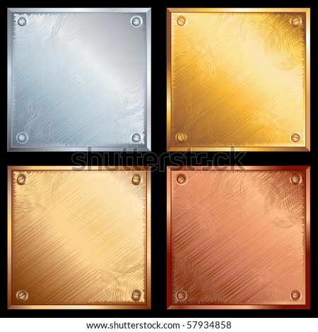 Set of old grunge metallic plates-vector illustration- SIMILAR IMAGES SEE AT MY GALLERY