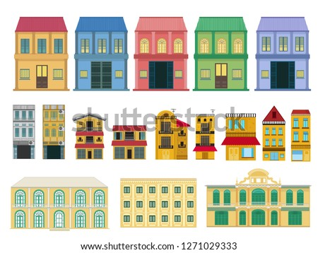 set of old houses and