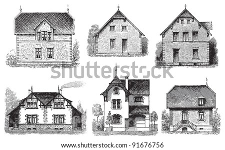 Set of old houses - Vintage illustration / illustration from Meyers Konversations-Lexikon 1897