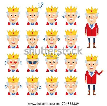 Set of old king emoticons showing various facial expressions. Cheerful king laughing, crying, surprised, angry and showing other emotions. Simple vector illustration