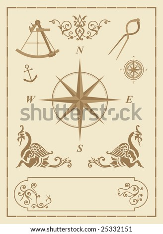 set of old nautical symbols and icons with vintage map design elements