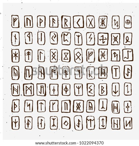 Set of Old Norse Scandinavian runes carved in wood. Runic alphabet, futhark. Ancient occult symbols, vikings letters on white, rune font. Vector illustration with light texture. Ancient norse letter.