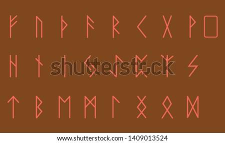 Set of Old Norse Scandinavian runes. Rune alphabet. Occult ancient symbols