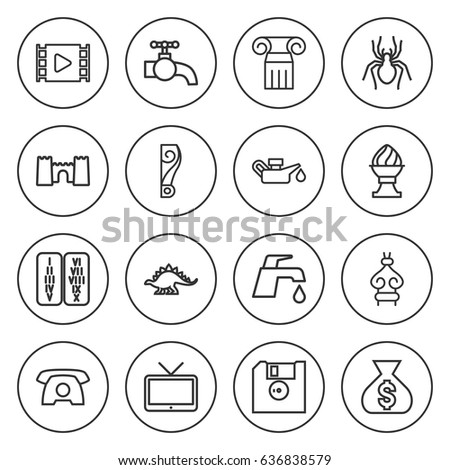 set of 16 old outline icons