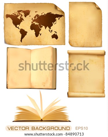 Set of old paper sheets and map. Vector illustration.
