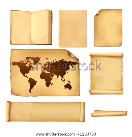 Set of old paper sheets and old map. Vector. - stock vector