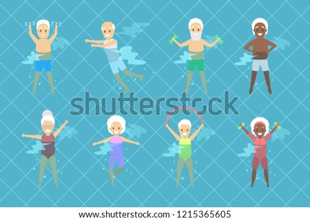 Set of old people doing exercise in swimming pool. Elderly character have an active lifestyle. Senior in water. Isolated vector flat illustration