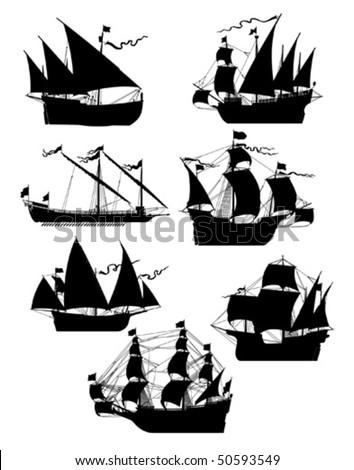 set of old sailing ships