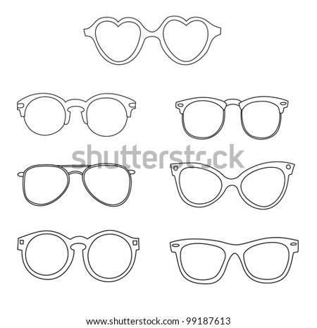 Old Glasses Drawing Set of Old School Glasses