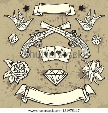 set of old school tattoo