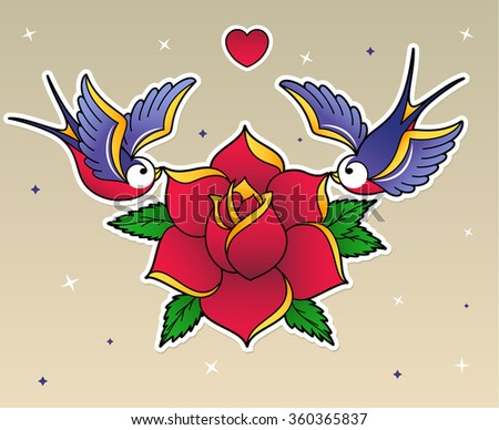 Stock Vector Set Of Old School Tattoo Elements Swallow Birds And Rose Tattoo Art Design New Traditional on Swallow Bird Tattoo Design