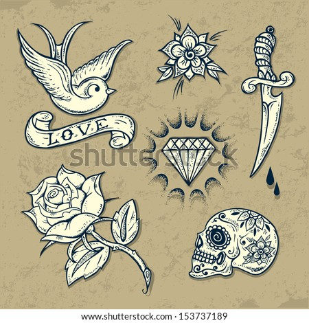 Set of Old School Tattoo Elements with roses and diamonds.Tattoo-art design. Hand-drawn vector images. Good for printing on t-shirt. Easy to edit. EPS8 file. Vintage colors.