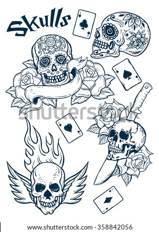 0a3abb201a716 Set of Old School Tattoo Elements with Skulls and aces..Tattoo-art design