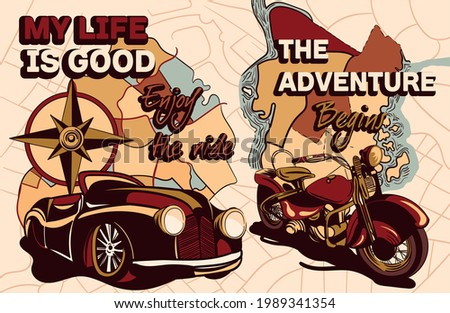 Set of old school travel posters with slogan and retro vehicles. Car, motorcycle with travel map on the background. Flat cartoon vector illustration Foto stock ©