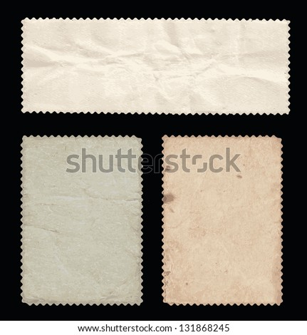 Set of old stamps, back side. Can be useful as a vintage backgrounds