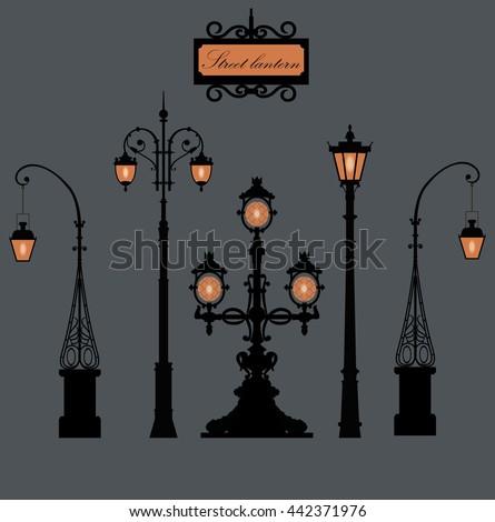 set of old street lanterns....