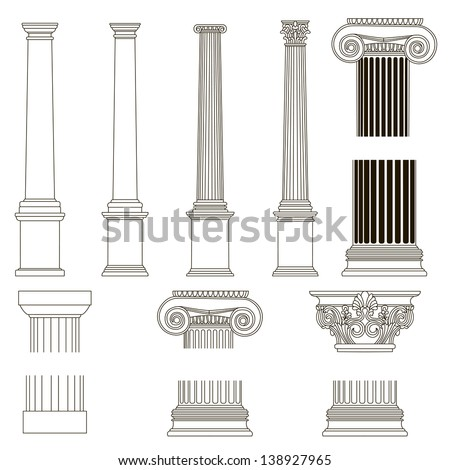 set of old style greece column. ...
