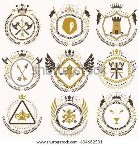 Set of old style heraldry vector emblems, vintage illustrations decorated with monarch accessories, towers, pentagonal stars, weapon and armory. Coat of Arms collection.