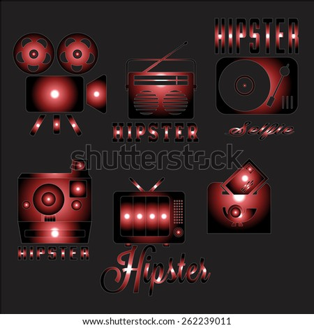 Set of old technology styled design Hipster icons. Vector illustration background