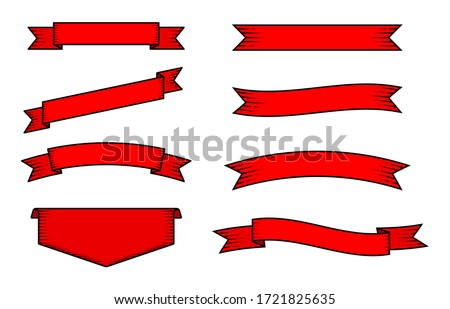 Set of old vintage red ribbon banners and drawing in engraving style. Hand drawn design element. Vector Illustration eps 10