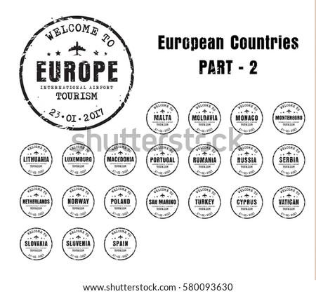 set of old worn stamps passport