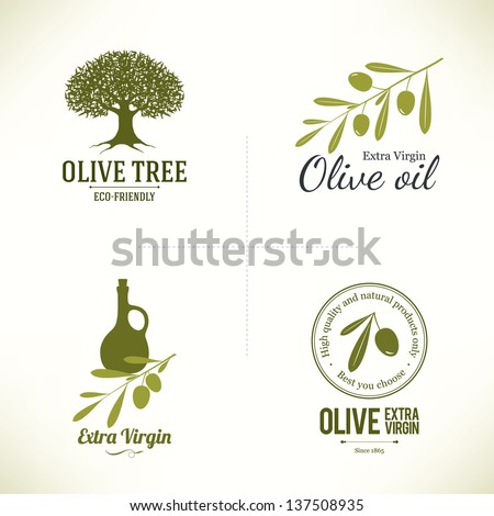 Set of olive labels
