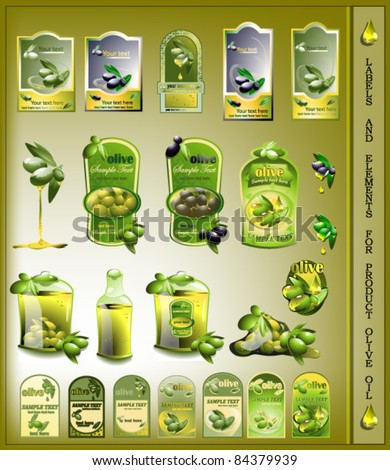 set of olives oil labels