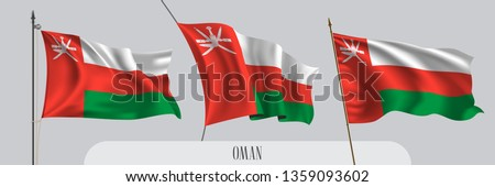 Set of Oman waving flag on isolated background vector illustration. 3 red green wavy realistic flag as a patriotic symbol