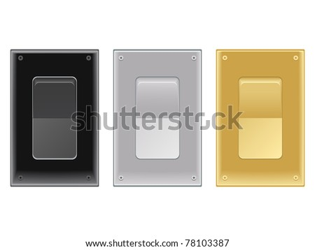Set of on/off switches in black, silver chrome and gold metallic brass for lights