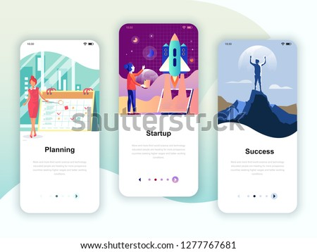 Set of onboarding screens user interface kit for Planning, Startup, Success, mobile app templates concept. Modern UX, UI screen for mobile or responsive web site. Vector illustration.