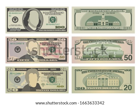 Set of one hundred dollars, fifty dollars and twenty dollar bills. 100, 50 and 20 US dollars banknotes from front and reverse side. Vector illustration of USD isolated on white background