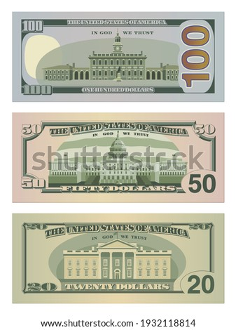 Set of one hundred dollars, fifty dollars and twenty dollar bills in new design. 100, 50 and 20 US dollars banknotes from reverse side. Vector illustration of USD isolated on white