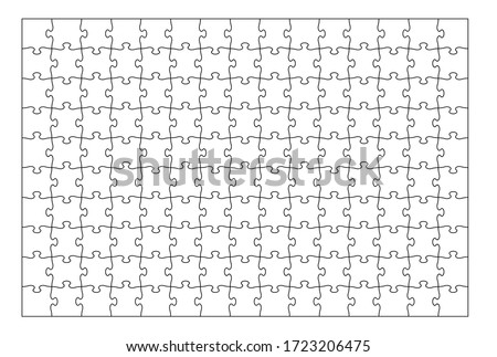 Set of one hundred fifty puzzle pieces. Puzzle with different types of details and the ability to move each part. Black and white vector illustration isolated on white background.