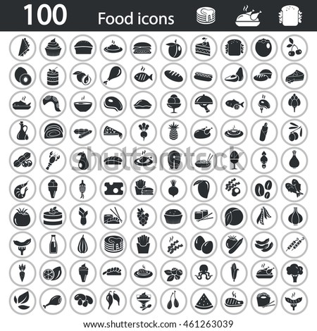 Set of one hundred food icons