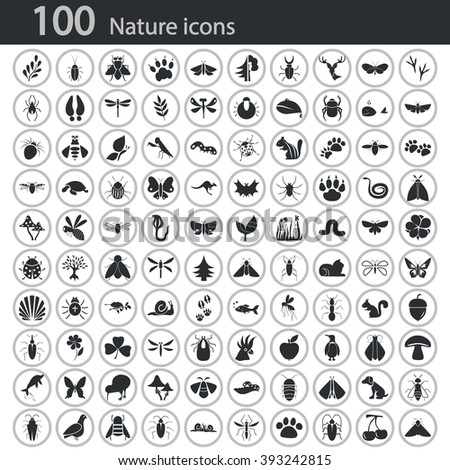 Set of one hundred nature icons